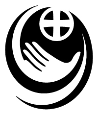Logo is a black and white oval design with an open hand at the bottom and a cross inside thea circle at the top.